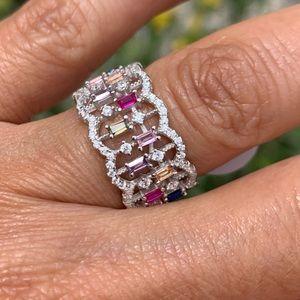 Unique Fancy color Diamond Wedding Band Ring